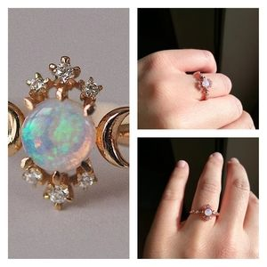 New size 7 Moons Opal Dainty Ring